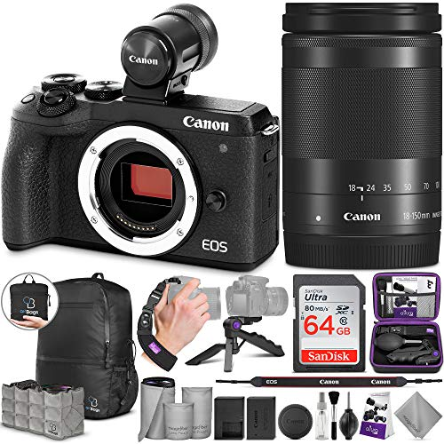 Canon EOS M6 Mark II Mirrorless Digital Camera and 18-150mm Lens + EVF-DC2 Viewfinder with Altura Photo Advanced Accessory and Travel Bundle