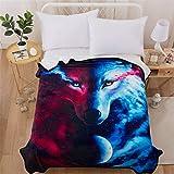 WONGS BEDDING Manta de Franela de Lujo de Mediano Tamaño Manta de Lana Estampata 3D Wolf Animal Manta de Lana Azul Marino para sofá y Cama de 150 * 200 cm