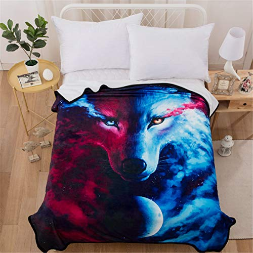 WONGS BEDDING Wolf Blanket 3D Animal Wolf Printed Throw Blanket for Kids Child Adults Soft Warm Reversible Flannel Fleece Blanket for Bed and Couch 150x200cm (White, Navy Blue)