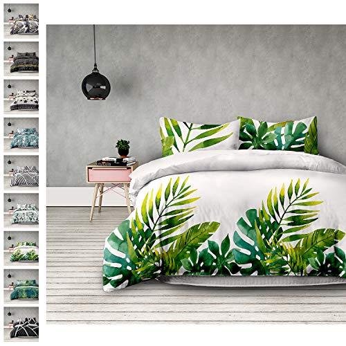 AmeliaHome Averi weiß grün 4tlg Bettwäsche, Baumwolle, Makia, 2 x 135x200 + 2 x 80x80