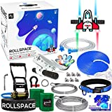 RollSpace 150FT Zipline Kits for Backyards with Cable Tensioning Kit Zipline for Kids with Detachable Trolley, 304 Stainless Steel Cable, Spring Brake and Adjutable Seat Zipline Play Set