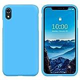 SURPHY Funda Silicona para iPhone XR, Carcasa con Superfino Pelusa Forro, Funda para Silicona Teléfono Anti-rañazos de 6.1 Pulgadas para iPhone XR, Azul Hielo