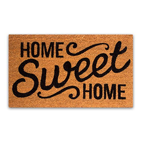 "PLUS Haven Coco Coir Door Mat with Heavy Duty Backing, Home Sweet Home Doormat, 17""x30"" Size, Easy to Clean Entry Mat, Beautiful Color and Sizing for Outdoor and Indoor uses, Home Decor"