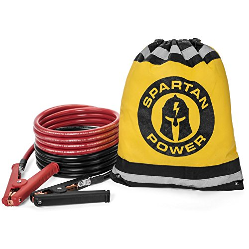 10 Foot 0 Gauge Heavy Duty Jumper Cables Booster Set by Spartan Power - 1/0 AWG, 10 Foot Made in the USA