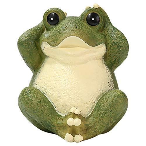 Adornos de resina de rana, esculturas de rana de jardín al aire libre, no menciones no mires snoozing yoga animal estatuilla decoración del hogar regalos infantiles (C)