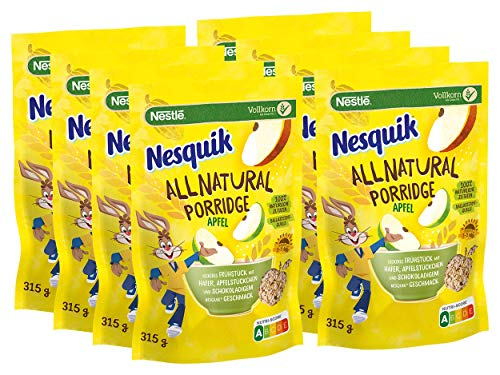 NESQUIK All Natural Porridge Apfel mit Haferflocken, 8er Pack (8 x 315g)