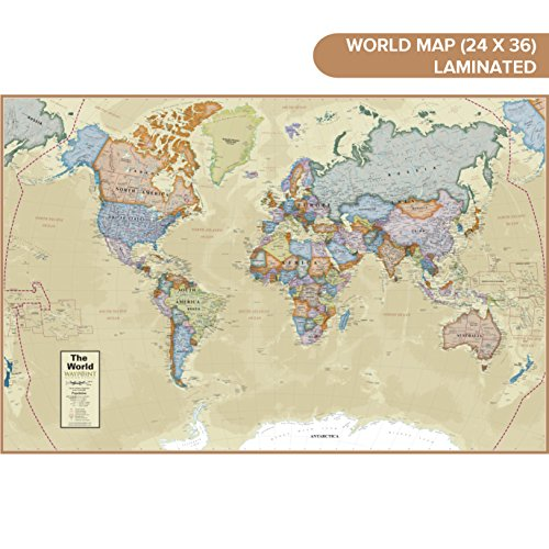 Waypoint Geographic Classic Ocean World Wall Map (24