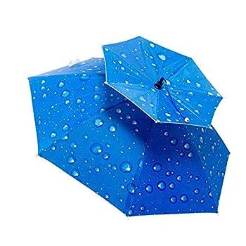 Ogquaton Chapeau de pêche Parapluie Chapeau Chapeaux Casquette Chapeau de Pluie Accessoire de Plein air pour Golf pêche pêche Plage Bleu 1 Pcs