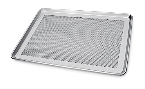 New Star Foodservice 36770 Commercial-Grade 18-Gauge Aluminum Sheet Pan/Bun Pan, Perforated 18' L x 26' W x 1' H (Full Size) | Measure Oven (Recommended)