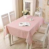 Manteles Algodón Y Lino Manteles Estilo Pastoral A Cuadros Manteles De Café Esteras De Cubierta Impermeable Toalla De Tela Lavable (Color : Pink Grid, Size : 140X140CM)