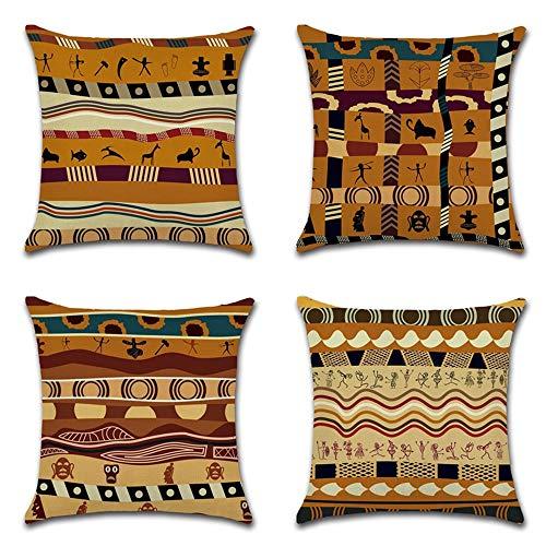 HZDHCLH 4er Set Kissenbezug kissenhülle 45 x 45 cm aus Baumwolle und Leinen Kissenbezüge für Sofa Gartenbett Outdoor Sofakissen Wohnzimmer (Afrikanisch)