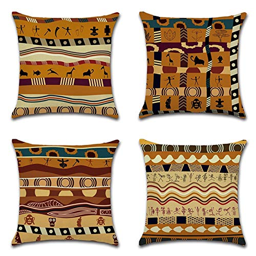 BECOSIM 18x18 Inch 45 x 45 cm 4 Pack Cushion Covers Throw Pillow Case Chair Sofa Couch Seat Decorative Square Cushion Covers Cotton Linen