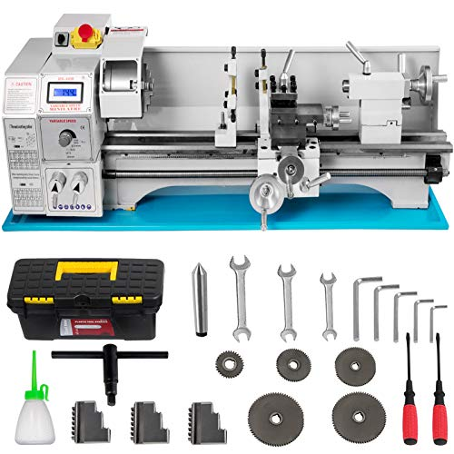VEVOR Mini Drehbank 220x600mm Drehmaschine Metall 1.1KW Mini Drechselbank für Metallbearbeitung Drehbank Metall präzise einfach zu bedienen