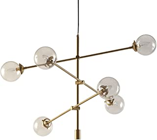 Mid Century Modern Antique Gold Chandelier with 6 Oversized Glass Bulbs - Includes Modhaus Living Pen