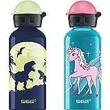 Sigg Glow Moon Dinos Cantimplora Infantil (0.4 L), Botella Para Niños + Bella Unicorn Cantimplora Infantil (0.4 L), Botella Para Niños Sin Sustancias