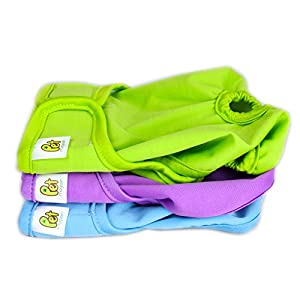 Reusable Dog Nappies - Sanitary Pet Diapers, Highly Absorbent, Machine Washable & Eco-Friendly, 3-Pack, Solid, Medium by PET MAGASIN