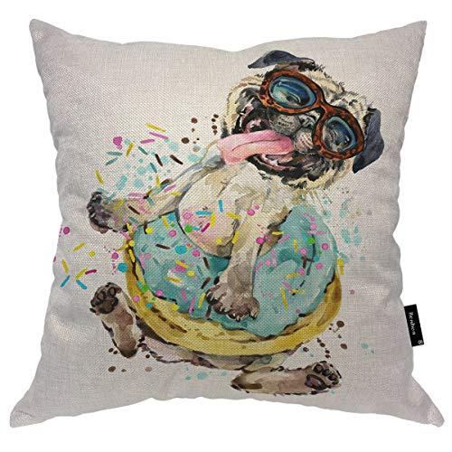 Seemuch Funda de cojín de perro pequeño en azul con gafas de sol pegando su lengua póster duradero, funda de cojín de algodón y lino para dormitorio, oficina, 45,7 x 45,7 cm