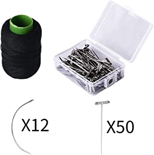 SEIKEA Weave Thread for Hair 12 C Curve Needles 50 T Pins for Wig Making Bulk T-pins