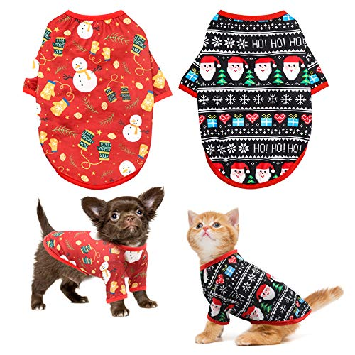 HYLYUN Dog Christmas Shirt 2 Packs - Christmas Pet Shirt Soft Breathable Puppy Shirts Printed Pet...