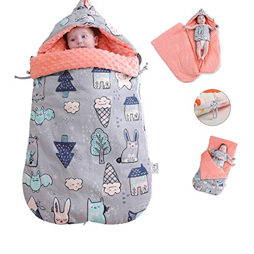 LYXCM Babyschlafsack Neugeborenen, Cartoon Tier Baumwolle Kinderwagen Schlafsack Rollstuhl Umschläge Für Neugeborene