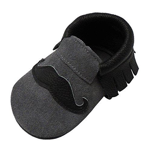 Mejale Babyschuhe, aus weichem Leder, für die ersten Schritte mit weichem Bart, Grau - grau - Größe: 24/25 EU