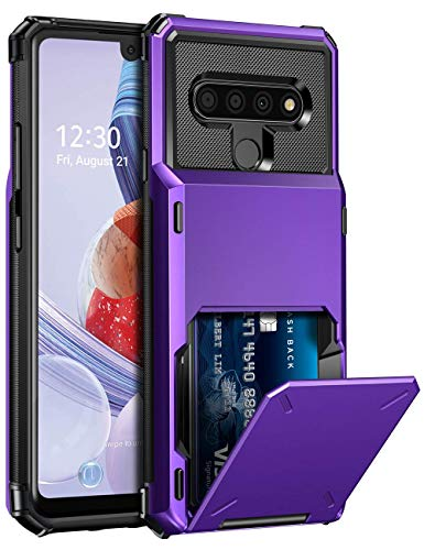 ELOVEN Wallet Case for LG Stylo 6 Case with Card Slot Hidden Card Holder Credit Card ID Protective Cases Shock Absorption Anti Slip Rugged Bumper Protection Hard PC Cover for LG Stylo 6, Purple