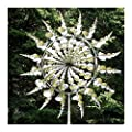 Unique and Magical Metal Windmill,Wind Spinner for Yard and Garden Decor,Metal Wind Spinner with Metal Garden Stake (A Silver Leaf)