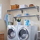 EZ Shelf-DIY Expandable Organizer Silver Shelves for Laundry & Utility Room-Over Washer & Dryer Wall Storage-Wire Shelving Alternative-2 Shelf Pack, Expands from 45 to 75' (1 Shelf has Hanging Rod)