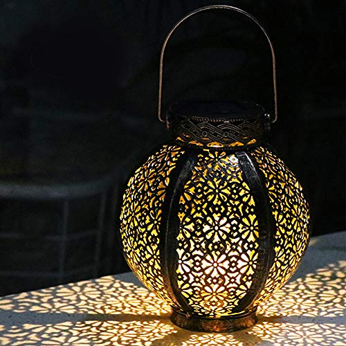Hanging Solar Lights Outdoor Retro Lanterns Solar Powered Decorative LED Table Lamp with Handle, Waterproof Afirst Solar Garden Art Lights Outside Yard Tree Fence Patio Pathway Decor - 1 Pack