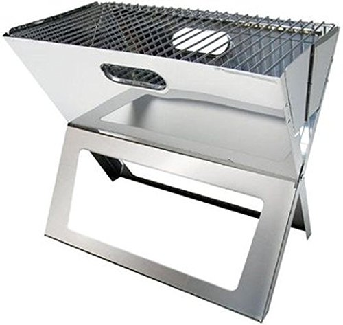 HOLZKOHLEGRILL - STABIELO - FALTBARER EASY - LARGE - Edelstahl Tisch-Kohle-Grill - VERTRIEB durch - Holly ® Produkte STABIELO ® - holly-sunshade ® - patentierte Innovationen im Bereich mobiler universeller Sonnenschutz - Made in Germany -
