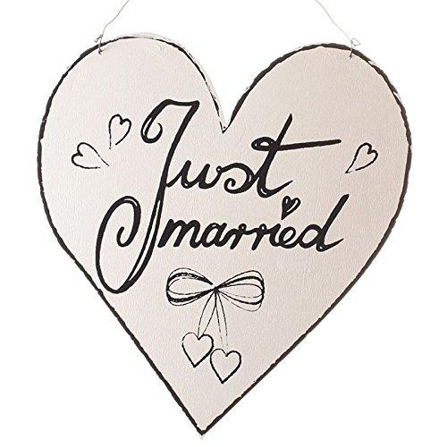 Annastore Holzschild Just Married im Herzform mit Metallhänger - Wandschild Hochzeit Hochzeitsschild Deko
