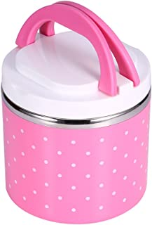 Insulation Thermal Lunch Box Stainless Steel Food Storage Container Portable Bento Box with Handle Cute Dot Pattern 1/2/3 ...
