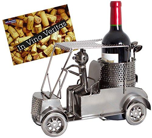 Brubaker Wein Flaschenhalter Golfer in einem Golfcart - Metall Skulptur - Geschenk mit Geschenkkarte