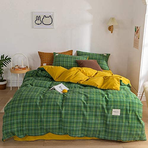 Japanese Cream Plaid Four-Piece Year-end gift Girl Quilt Cover Heart Washing C Bargain