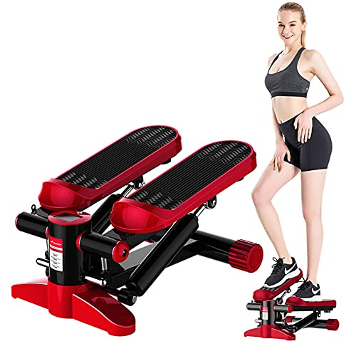 HQYAXIN Mini Stepper for Exercise Stepper with Resistance Bands Aerobic Motor Adjustable Portable Hydraulic Cylinder LCD Display Fitness Weight Capacity Use by Adult & Kid & Teenager Twin Red