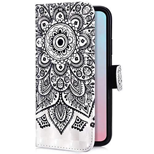 Uposao Kompatibel mit Samsung Galaxy A8 Plus 2018 Handyhülle Handytasche Glitzer Bling Glänzend Bunt Muster Schutzhülle Flip Case Brieftasche Klapphülle Leder Hülle Cover,Schwarz Mandala Blume