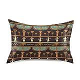 F17 Funda de almohada de satén vintage étnico antiguo Egipto Siluetas suave transpirable sofá funda de almohada funda de cojín para la piel del cabello, decoración del sueño, 20 x 40 pulgadas