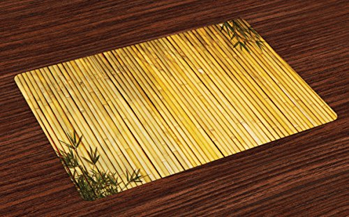Ambesonne Bamboo Place Mats Set of 4, Bamboo Stems and Leaves Oriental Nature Wood Image Natural Wildlife Theme, Washable Fabric Placemats for Dining Room Kitchen Table Decor, Yellow