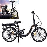 Bicicleta eléctrica Conduce a una Velocidad máxima de 25 km/h. Bicicleas Capacidad de la batería de Iones de Litio (AH) 10AH Electricos Bicicletas Tamaño de neumático 20 Pulgadas, Negro