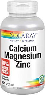 Solaray Calcium, Magnesium, Zinc | High Absorption with Glutamic Acid | Healthy Bones, Teeth, Nerve, Muscle, Heart & Immune Function Support (275 CT)