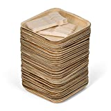 """50 8"""" Disposable Square Palm Leaf Plates + 100 Cutlery (50 Forks, 50 Knives) - Better Than Bamboo or Wood Plates. Heavy Duty, 100% Compostable & Biodegradable Eco Friendly Party Plates (8 inch)"""