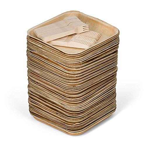 50 8 Disposable Square Palm Leaf Plates  100 Cutlery 50 Forks 50 Knives - Better Than Bamboo or Wood Plates Heavy Duty 100 Compostable Biodegradable Eco Friendly Party Plates 8 inch