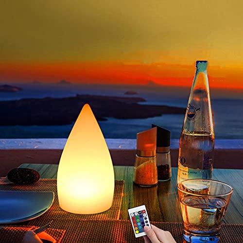 WRMING LED Lámpara de Mesa Portátil Blanca para Exteriores, USB Recargable Bar Luces de Noche, RGB Interior Lámpara de Comedor Decorativas, con Control Remoto, IP65, 16 Colores, 4 Modos,D11*H20cm