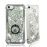 ZASE Design Clear Case Compatible for Apple iPod Touch 7th, 6th, 5th Gen Liquid Glitter Sparkle Bling Shockproof Cute Floating 3D Butterflies Quicksand w/Phone Ring Holder Stand
