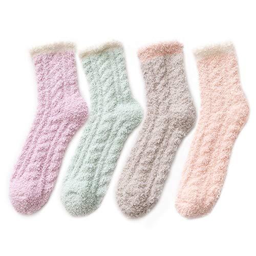 Azue Kuschelsocken Damen Wintersocken Warme Flauschige Weihnachtssocken Fuzzy Sock 4 Paare Patchwork