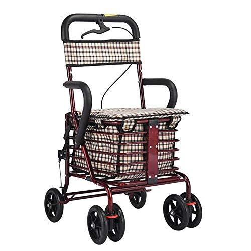 GAOXIAOMEI Carro DELE Compra,Carrito de Compras Plegable 6 Ruedas,con Asiento, Adecuado para Personas Mayores y discapacitadas,Wine Red