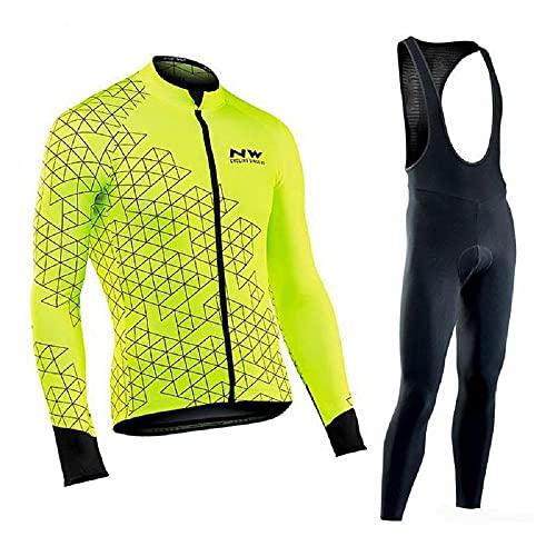 Completo Ciclismo da Corsa Invernale, Tuta Bici Uomo Termico Maniche Lunghe Include Maglia Ciclista e Pantaloni MTB Elastici Termica con 5D Gel Cuscino