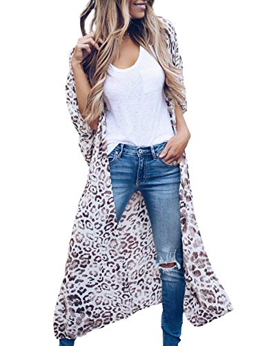 Women's Summer Leopard Kimono Casual Swimsuit Cover up Cardigan Long Blouses M