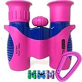Kids Binoculars Pink 8x21 - Girls Gift Age 3-12, Shockproof Compact...