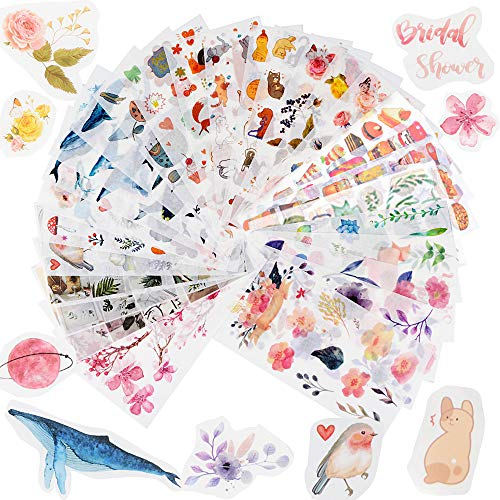 FLOFIA 30 Blatt Sticker Scrapbooking Pflanzen Aufkleber Blumen Sticker Katzen Tiere Scrapbook Aufkleber Notizbuch Tagebuch Fotoalbum Kalender